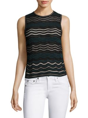 M Missoni Dotted Ripple-stitch Tank Top In Teal