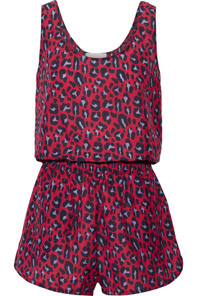 Stella Mccartney Leopard-print Cotton And Silk-blend Playsuit