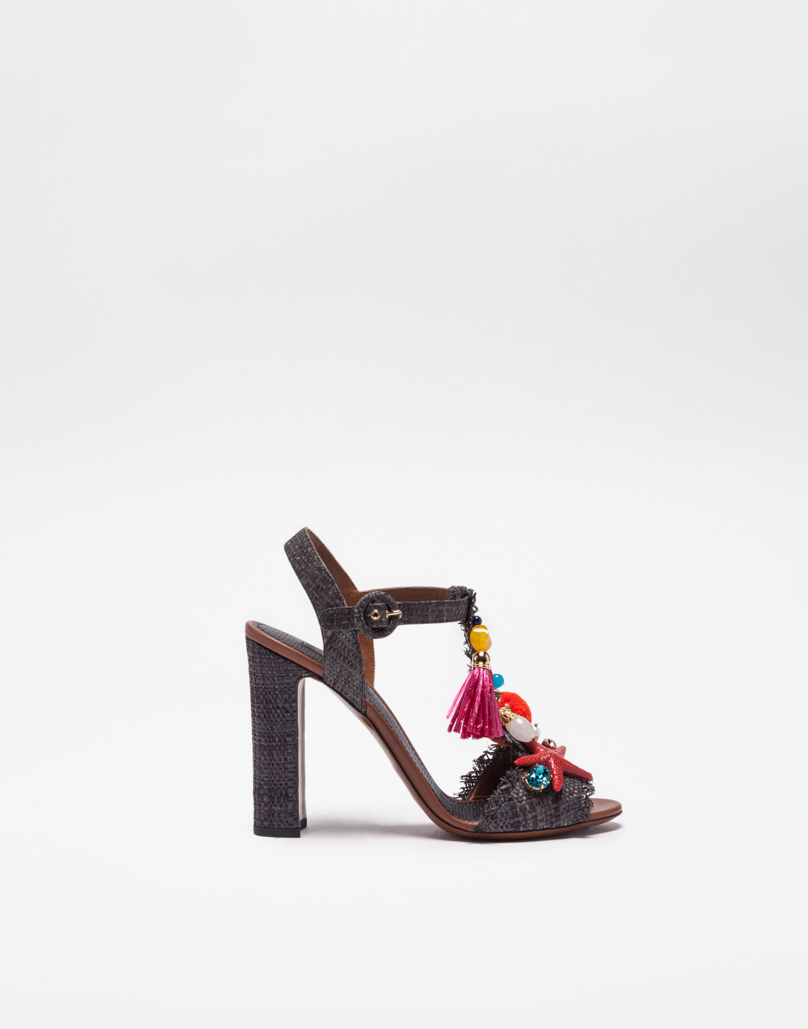 Dolce & Gabbana Straw Sandals With Applications In Black