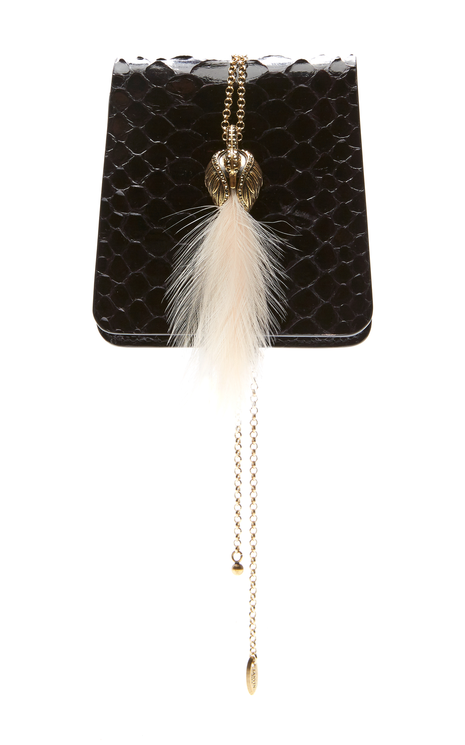 Lanvin Small Secret Python Bag W/ Feather In Purple