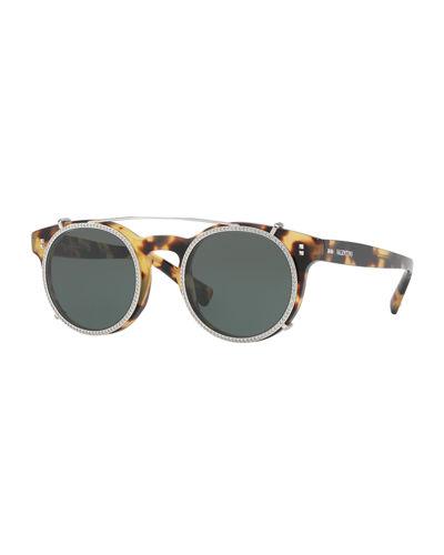 Valentino Rockstud Rivet 47mm Clip-on Round Sunglasses In Havana/green