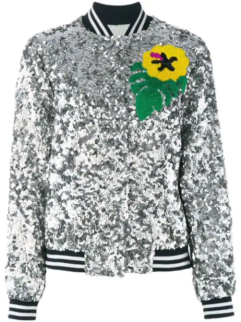 Mira Mikati Sequin Toucan Bomber Jacket In Silver