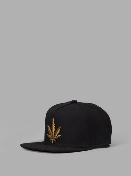 Palm Angels Black Embroidered Weed Cap