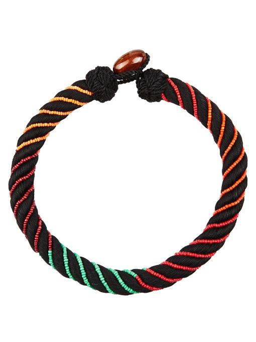Aurelie Bidermann Maya Bead-embellished Bracelet In Black