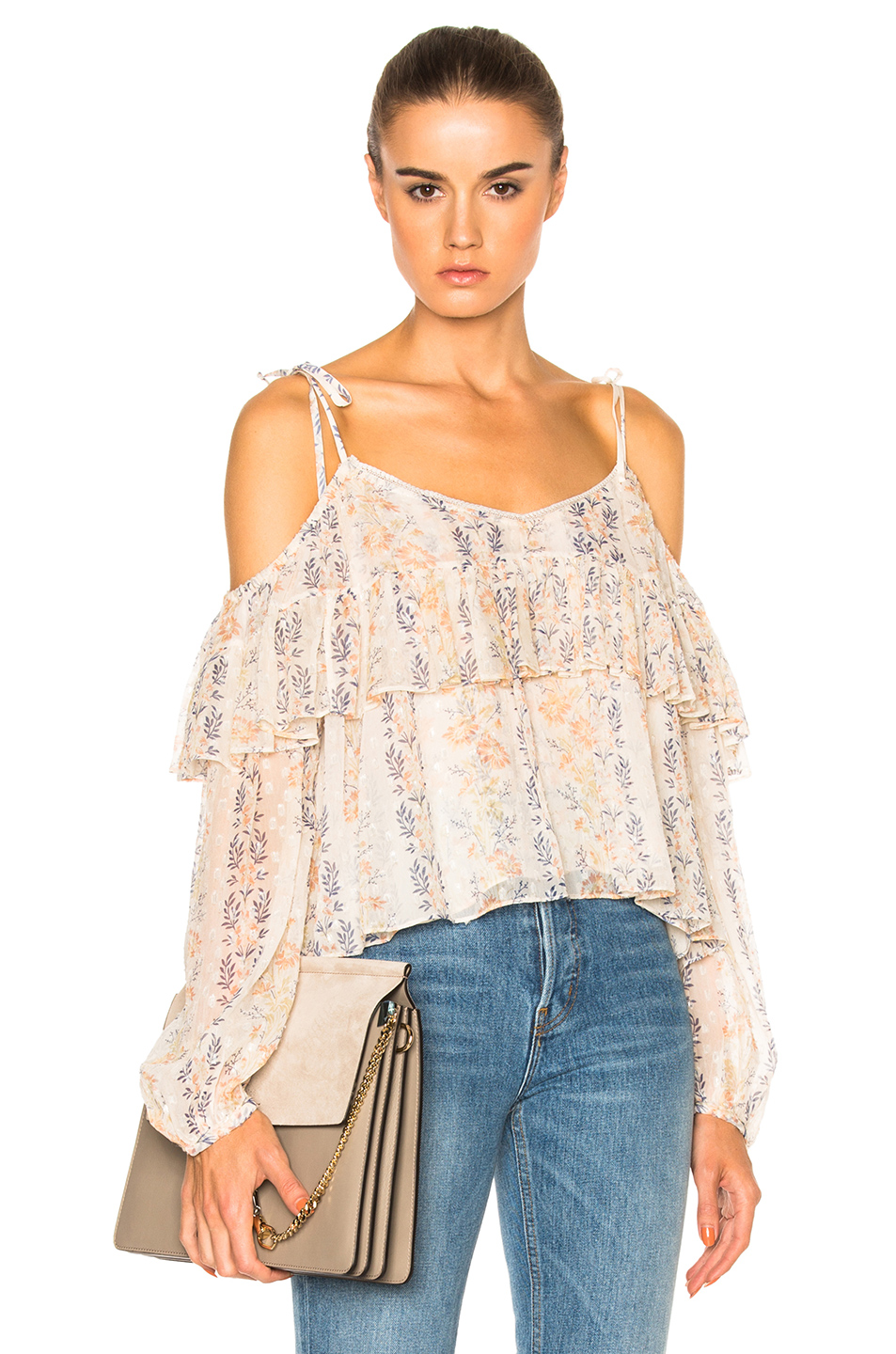 Needle & Thread Floral Stripe Top In Floral,neutrals