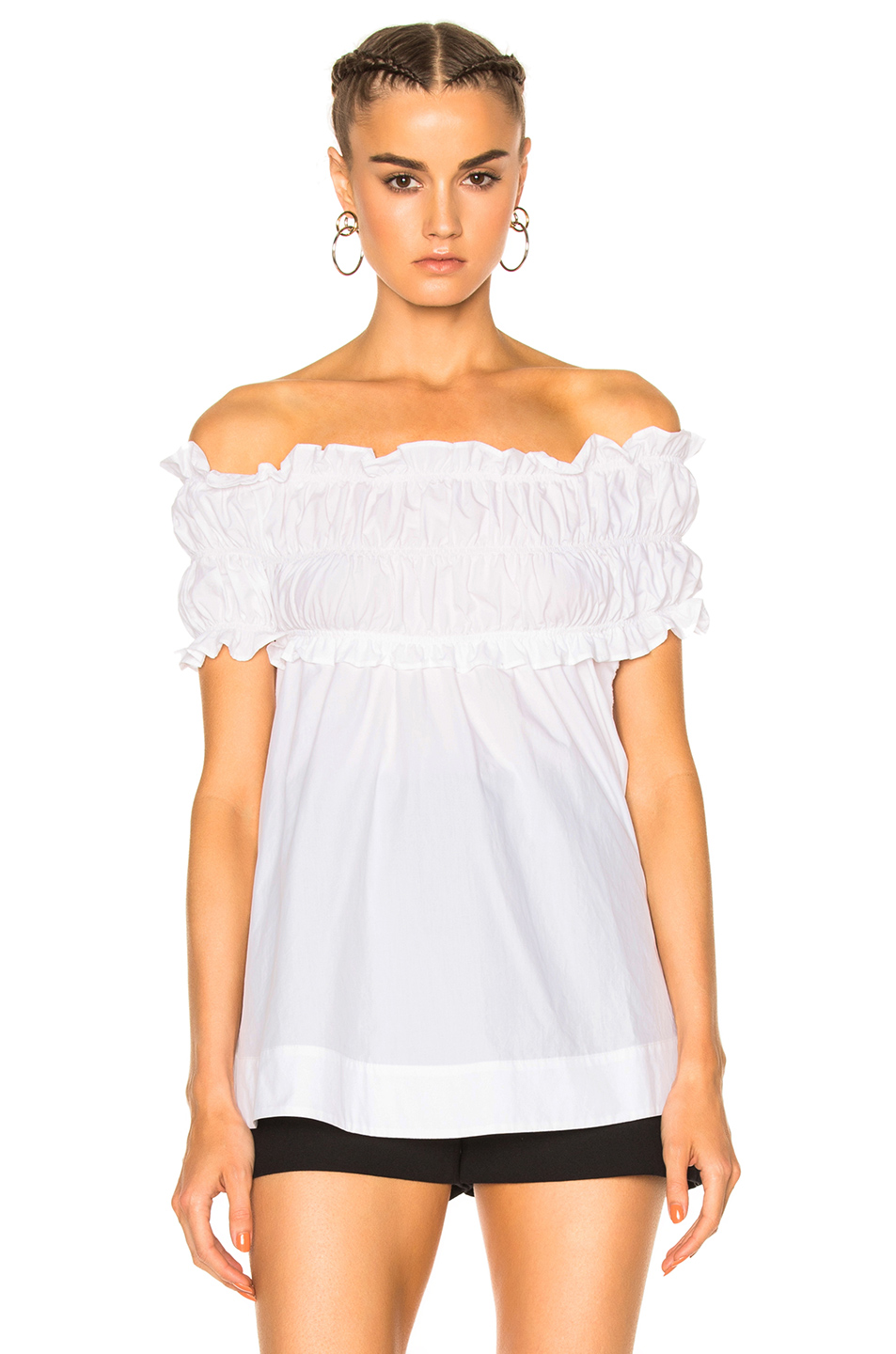 Msgm Off The Shoulder Top In White