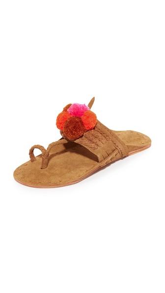 Figue Lolita Pompom-embellished Suede Sandals In Desert Tan