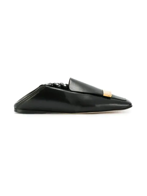 sergio rossi 10mm metal plaque leather loafers in black. Black Bedroom Furniture Sets. Home Design Ideas
