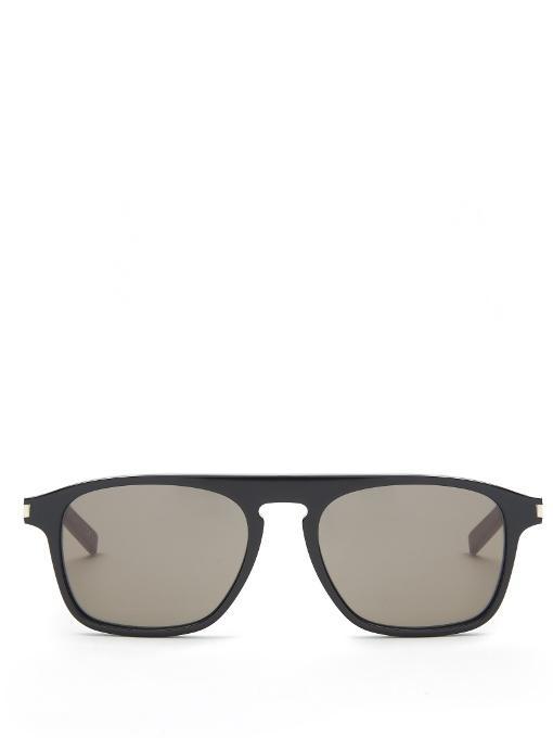 Saint Laurent Flat-top Acetate Sunglasses In Black Multi