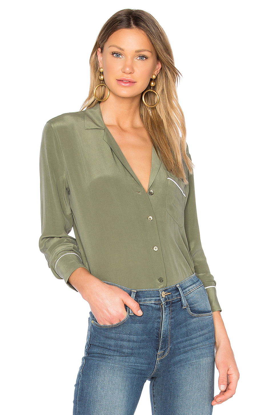 Equipment Keira Button Up In Green