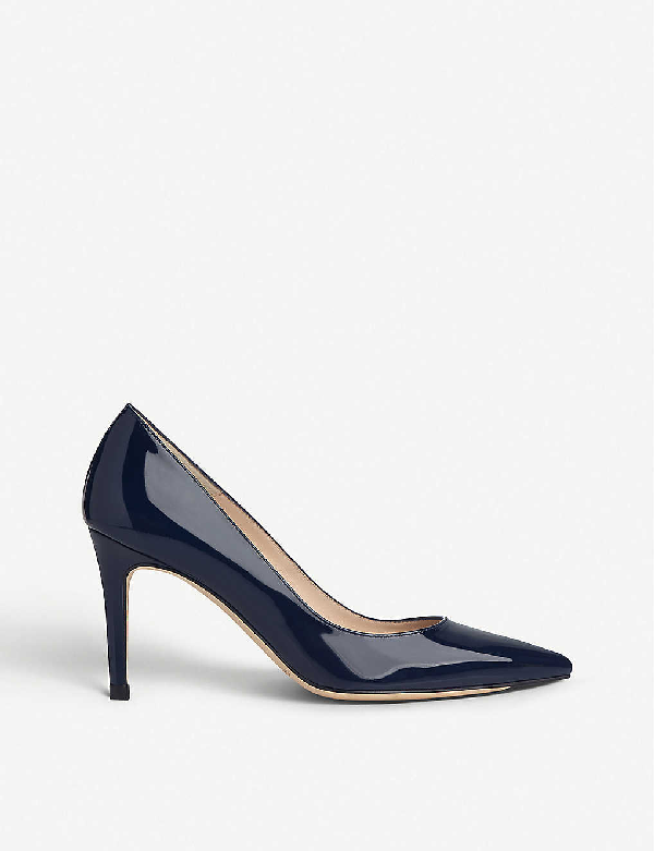 Lk Bennett Floret Patent Leather Courts In Blu-navy