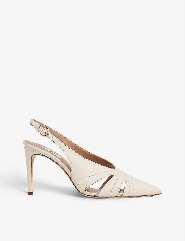 Lk Bennett Helena Patent Leather Courts In Whi-off White