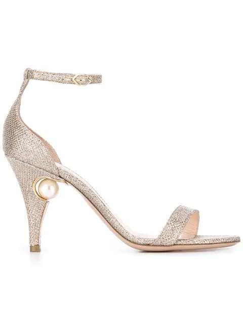 Nicholas Kirkwood Penelope Pearl Metallic Sandals In Champagege