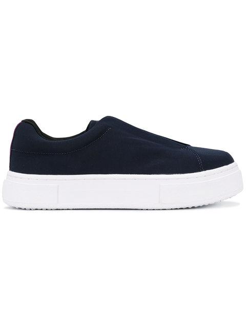 Eytys Navy Canvas Doja Slip-on Sneakers In Blue
