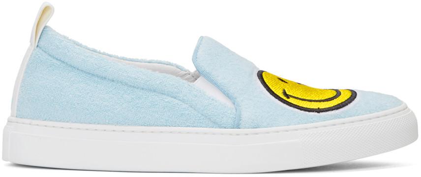 Joshua Sanders Light Blue Fleece And Leather Smile Slip On Sneakers