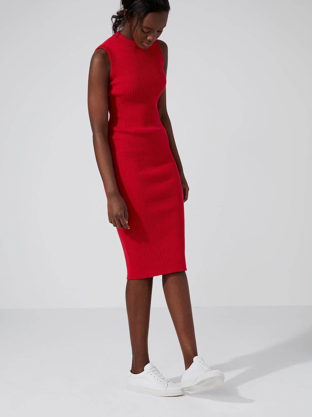 Frank + Oak Long Ribbed-knit Dress In Red