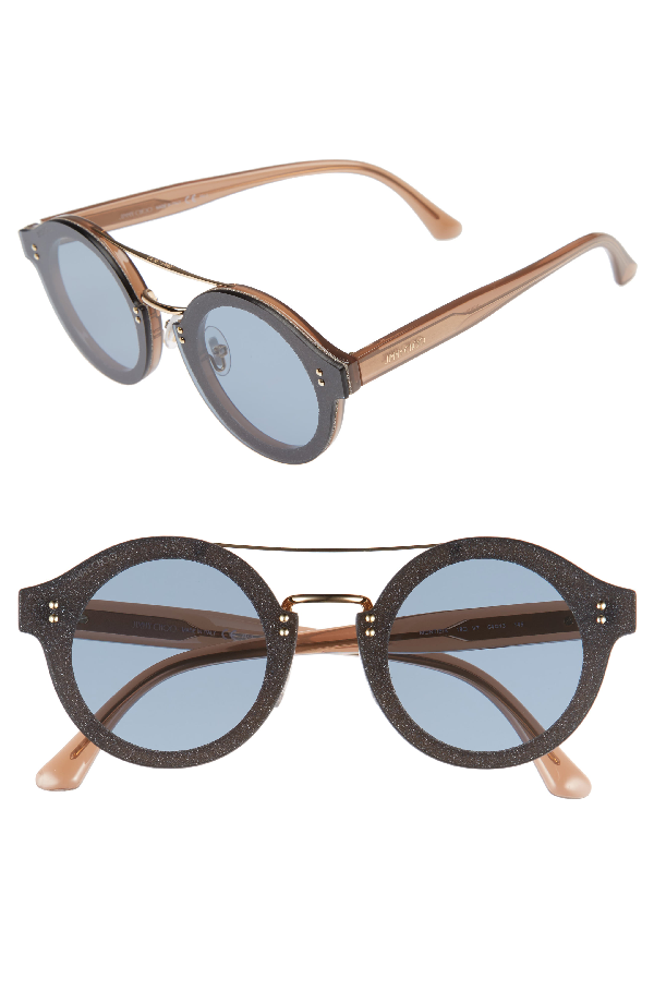 Jimmy Choo Montie Nude Acetate Round Framed Sunglasses With Gold Glitter Fabric In Ev7 Blue Antireflex