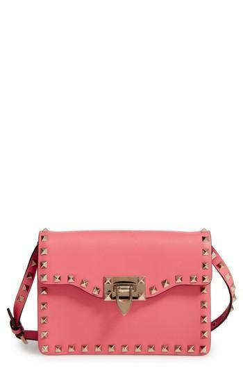 Valentino Garavani Rockstud Leather Crossbody Bag - Pink In Antique Rose