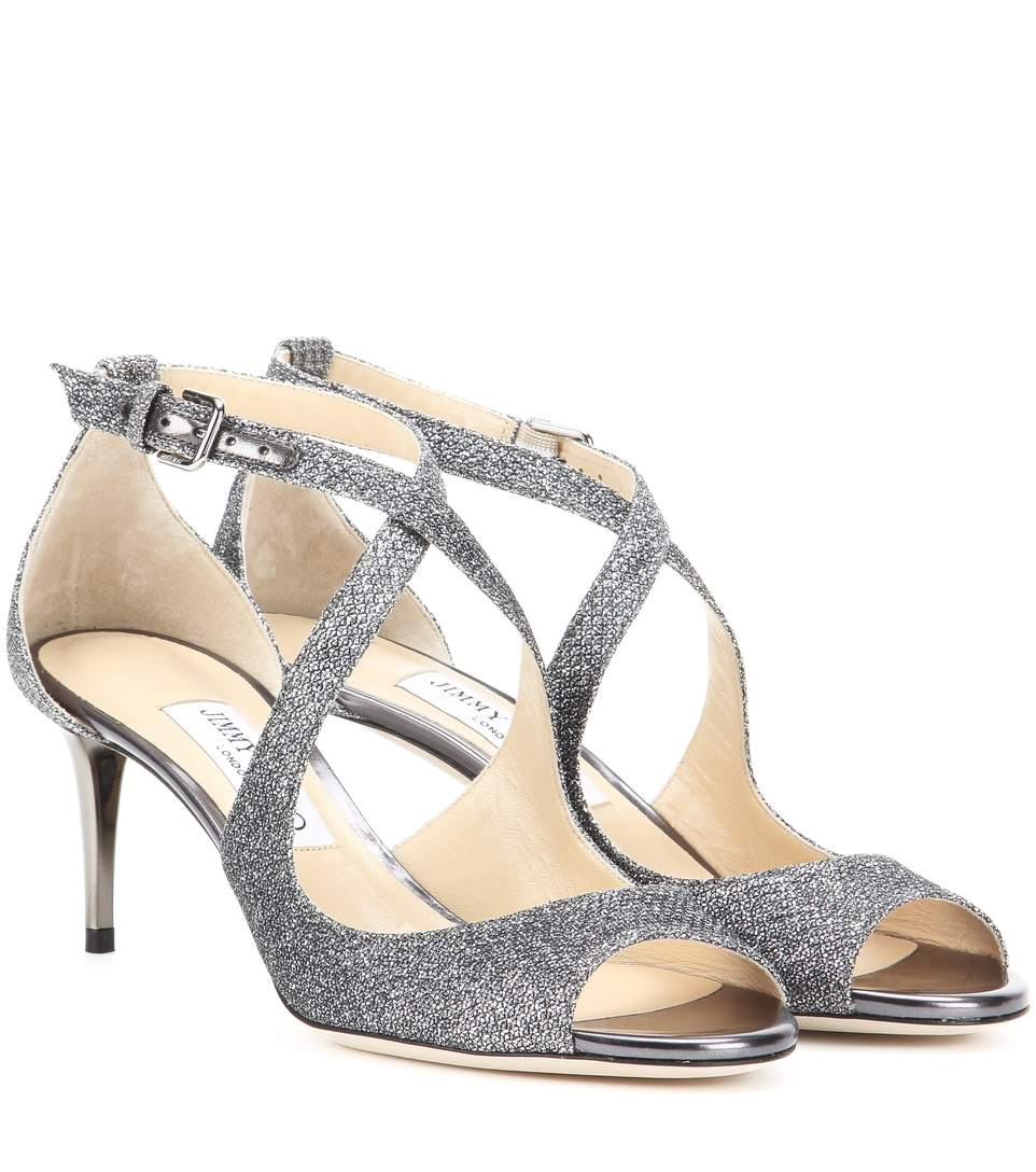 Jimmy Choo Emily 65 Glitter Sandals In Aethracite