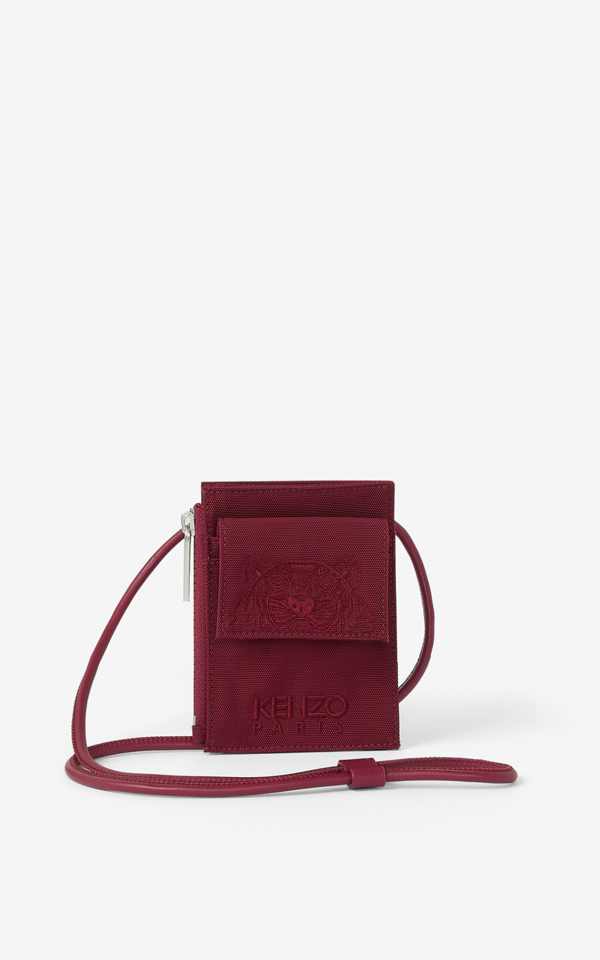 Kenzo Canvas Kampus Tiger Card Holder With Long Strap In 25 Magenta