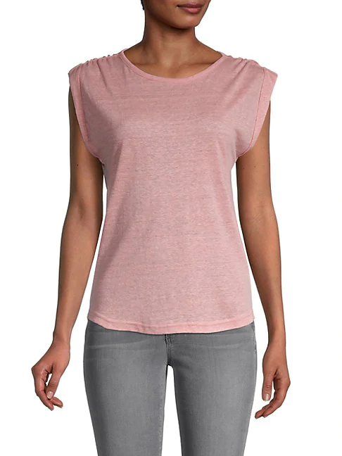 Frame Slouchy Linen Tank In Peony