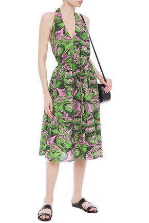 Mcq By Alexander Mcqueen Pleated Printed Cotton-poplin Halterneck Midi Dress In Green