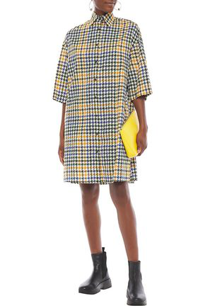 Mcq By Alexander Mcqueen Oversized Houndstooth Cotton-tweed Shirt Dress In Blue