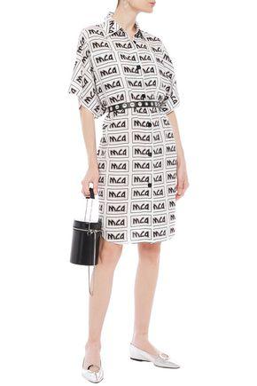 Mcq By Alexander Mcqueen Logo-print Woven Shirt Dress In Off-white