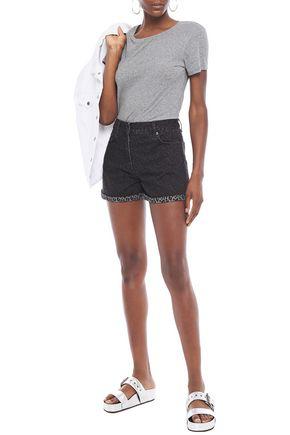 Mcq By Alexander Mcqueen Leopard-print Denim Shorts In Dark Denim