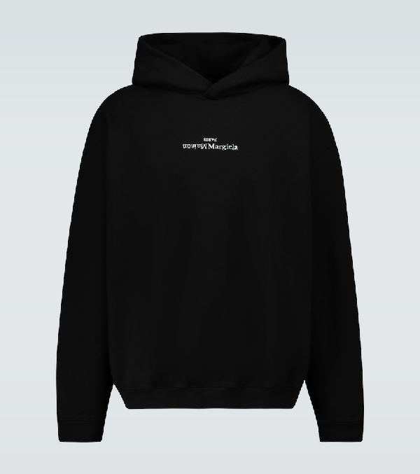 Maison Margiela Logo-embroidered Loopback Cotton-jersey Hoodie In Black
