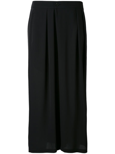 Vince Pleated Silk Crepe Culottes In Black