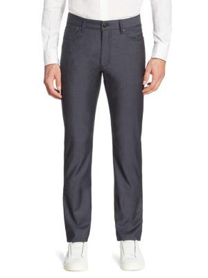 Ermenegildo Zegna Long Wool Trousers In Navy