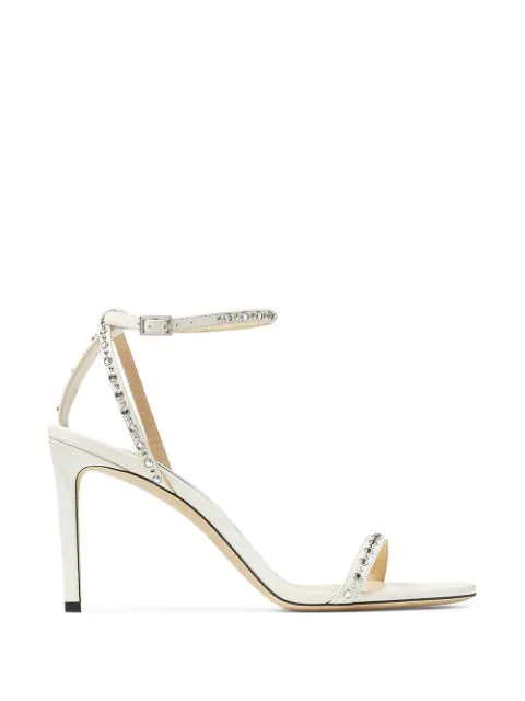 Jimmy Choo Minny Studded 85mm Sandals In White