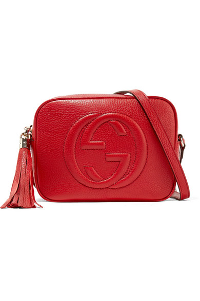 5adc807373a4 Gucci Soho Disco Textured-Leather Shoulder Bag In Red