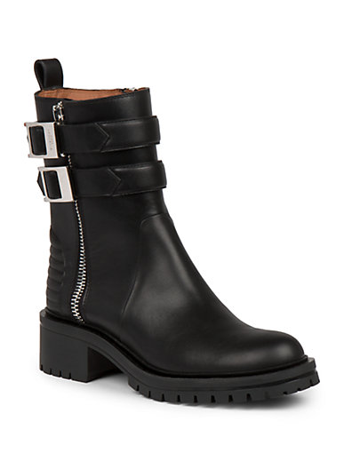 Givenchy Double Buckle Strap Leather Combat Boots In Black