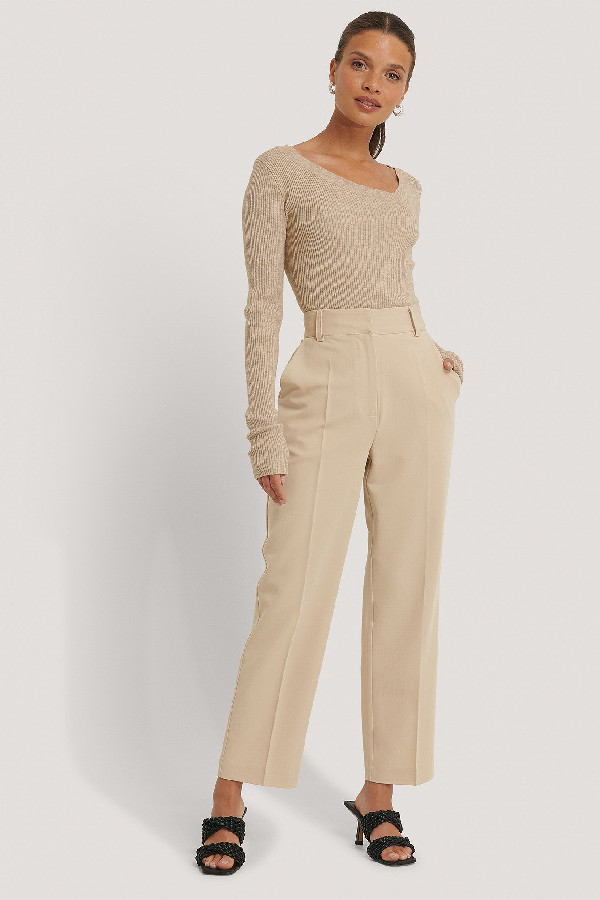 Na-kd Reborn High Rise Cropped Suit Pants Beige