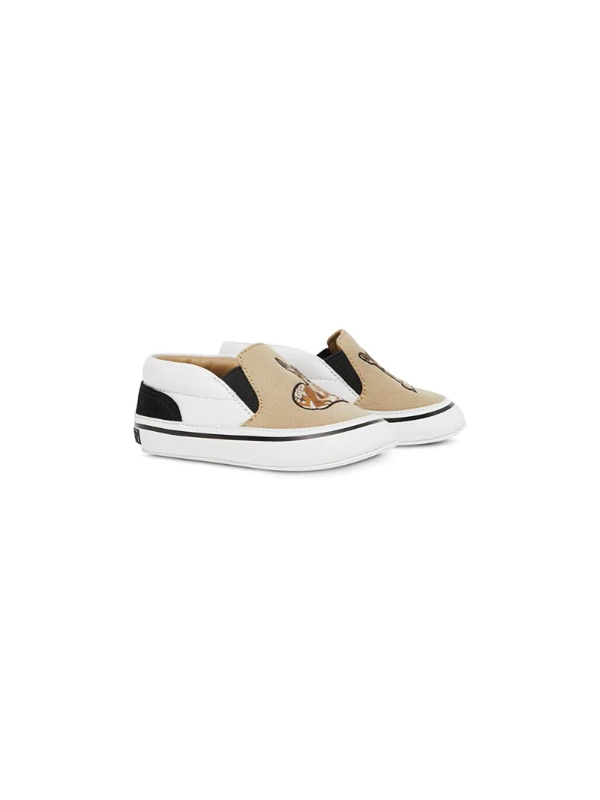 Burberry Babies' Kids Deer Motif Slip-on Shoes In Neutrals