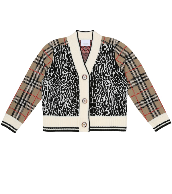 Burberry Kids Vintage Check Leopard Cardigan (3-12 Years) In Beige