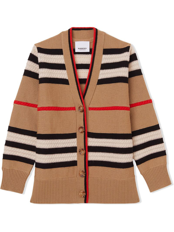 Burberry Kids' Little Girl's & Girl's Wool-cashmere Iconic Checkered Cable Knit Cardigan In Neutrals