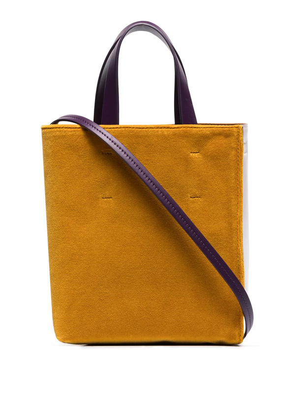 Marni Multicoloured Museo Velvet And Leather Tote Bag In Purple