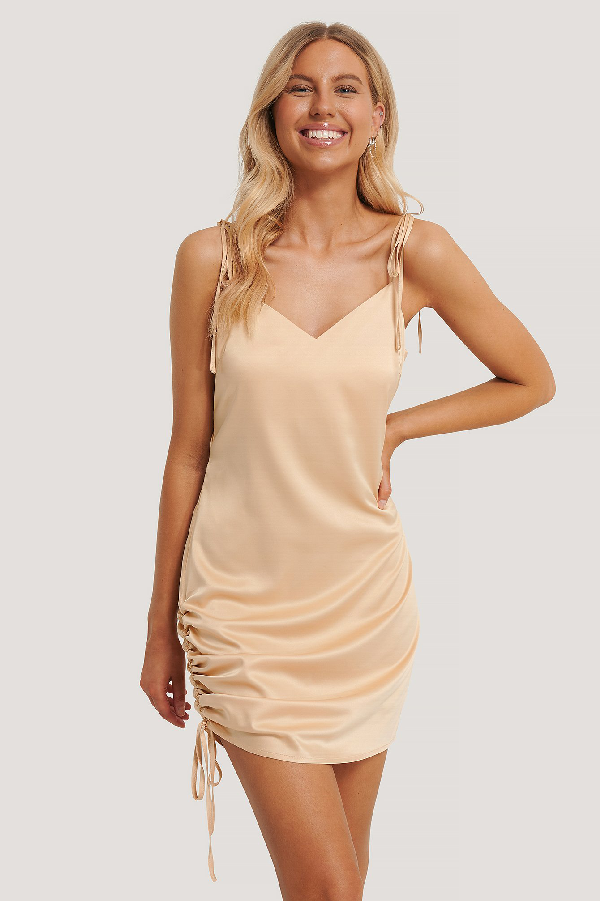 Chloé B X Na-kd Satin Drawstring Mini Dress Orange In Sand
