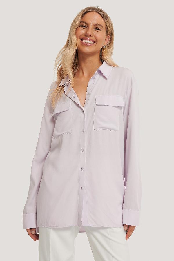 Chloé B X Na-kd Oversized Front Pocket Shirt Purple