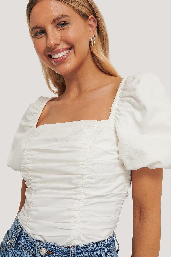 Chloé B X Na-kd Puff Sleeve Gathered Top White