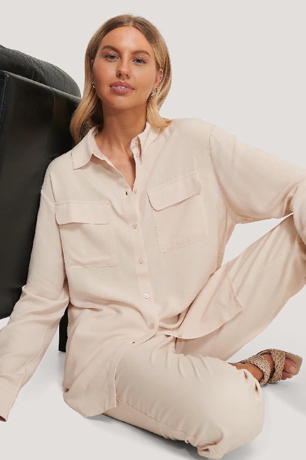 Chloé B X Na-kd Oversized Front Pocket Shirt - Beige In Sand