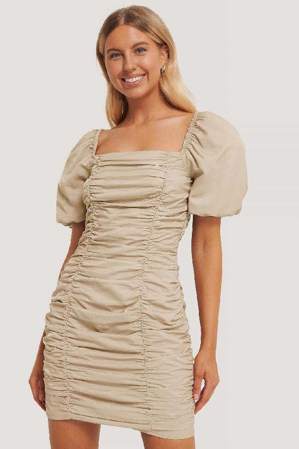 Chloé B X Na-kd Puff Sleeve Gathered Mini Dress - Beige