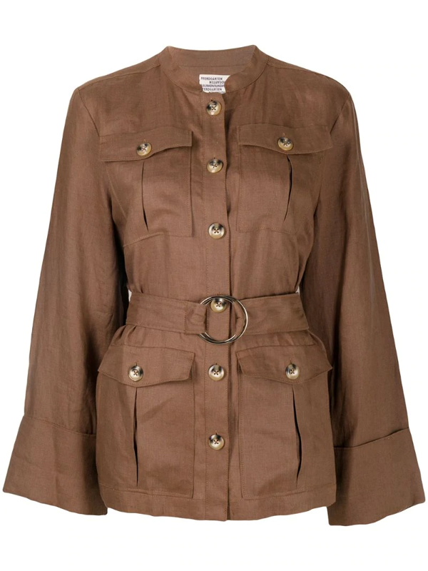 Baum Und Pferdgarten Single-breasted Belted Jacket In Brown