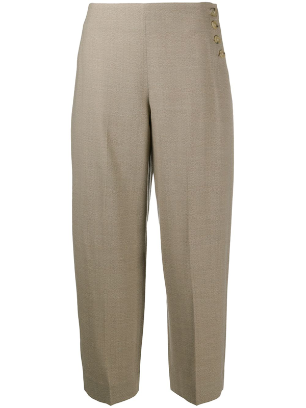 Vince Camuto High Waist Side Button Ankle Pants In Neutrals
