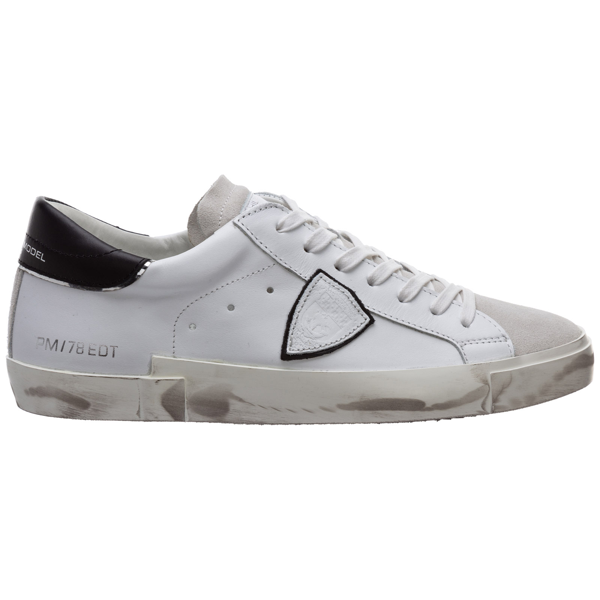 Philippe Model Men's Shoes Leather Trainers Sneakers Prsx In Blanc / Noir