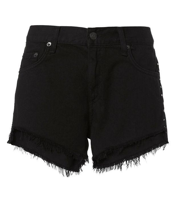 Rag & Bone Studded Cut-off Denim Shorts In Studded Black