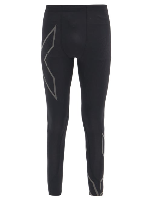2xu Reflective-logo Compression Running Leggings In Black